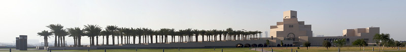 Palm trees line the sweeping approach from the Corniche to the Museum. Museum of Islamic Art, Doha, Qatar. November 2009. Canon 20D on tripod. Processed in Autopano Pro and Aperture2.