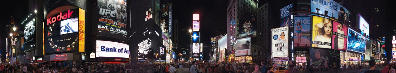 Times Square, August 29, 2010. Canon G10 hand held. Processed in Autopano Pro and Aperture2.