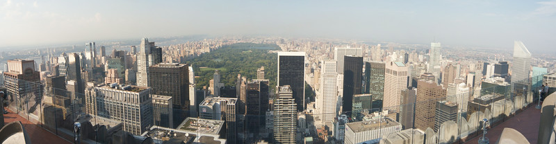 Uptown Manhattan from Rockefeller Center. September 2010. Processed in Autopano Pro and Aperture2.