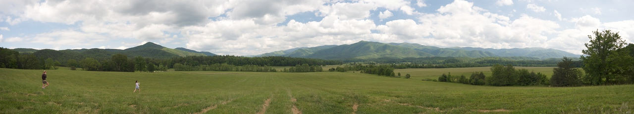 Cades Cove, Smoky Mountain National Park. May 2010. Canon 20D hand held. Processed in Autopano Pro and Aperture2.