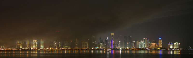 Smoke clears after the fireworks. Qatar National Day 2010.