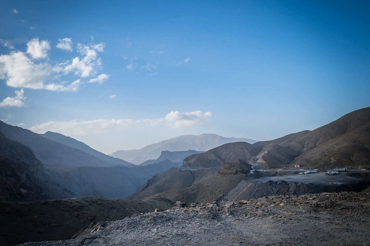 Widening the roads through the mountains from Marrakech.