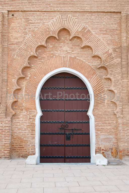 Sculpted Islamic design on the Koutoubia Mosque doorway in Marrakesh