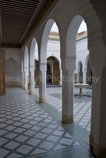 Arched cloisters in the Bahia Palace, Marrakesh