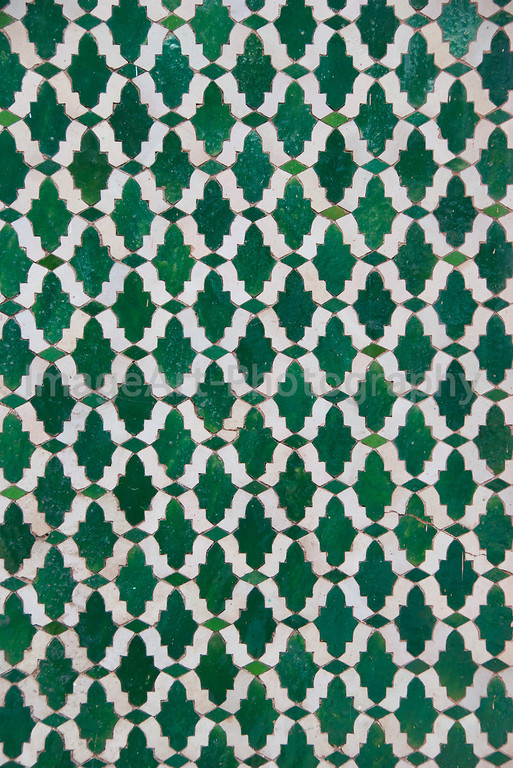 Green and White Mosaic Tiles