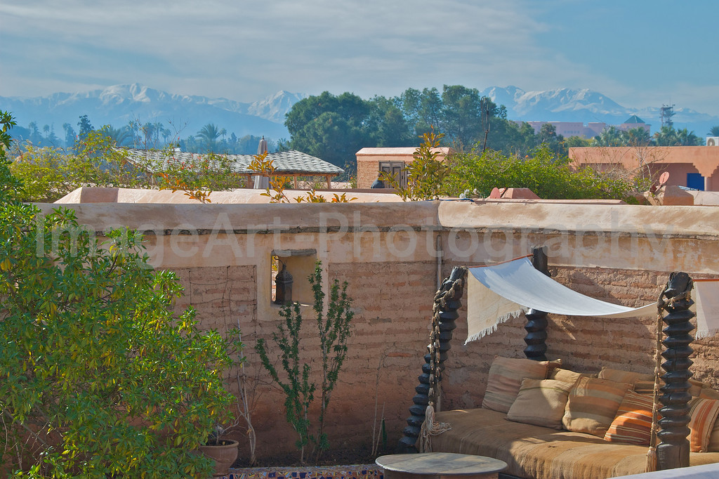 View from a Riad Rooftop towards the Atlas Mountains