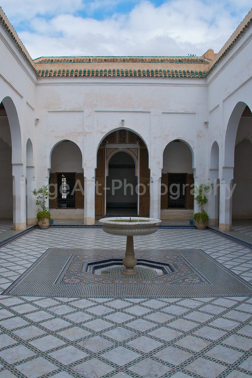 A patio with fountain in the Bahia Palace Marrakesh