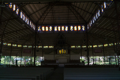 Inside the steel, open-air tabernacle pavillion.