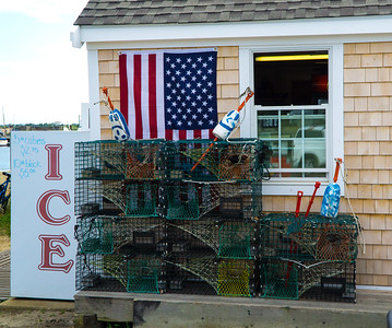 Lobster traps and ice.