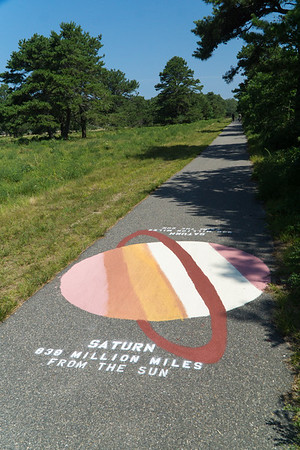 On the bike path: new graphics showing our solar system. The distance between graphics is proportional to the actual distance from the sun.