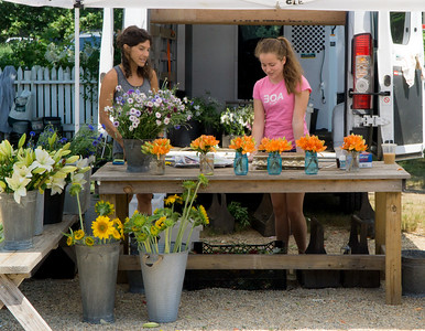 Flowers for sale at the West Tisbury farmers market.