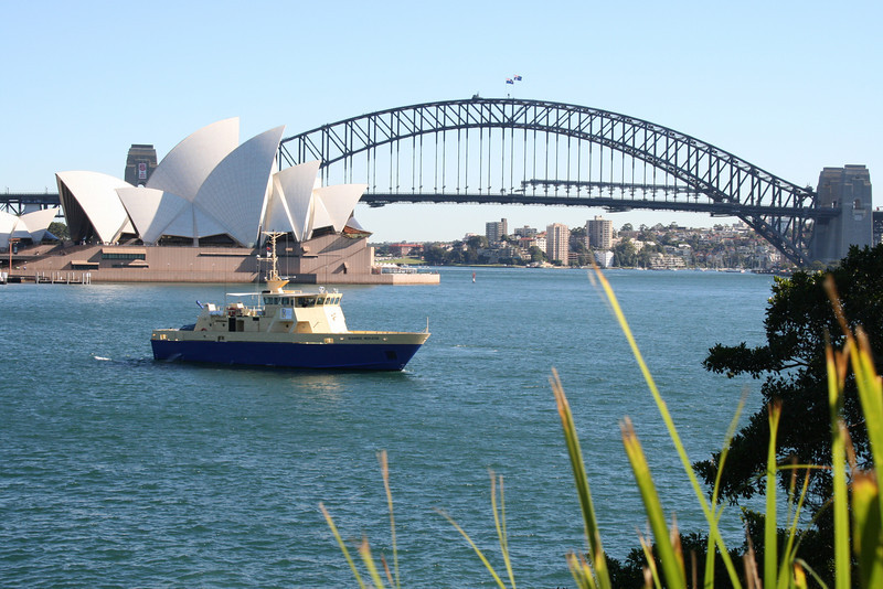 The Opera House and the Harbor Bridge, from across the harbor.