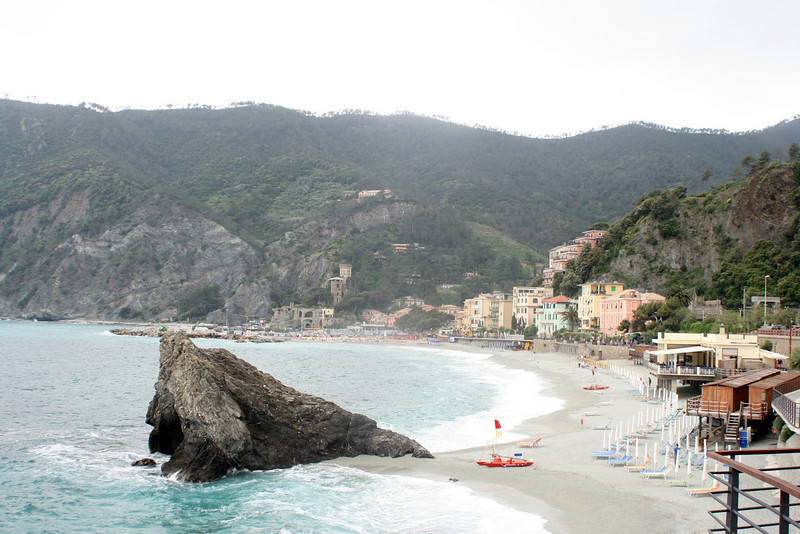"We arrived in Town 5 (Monterosso) by train (hiking trail closed due to landslide, and after day before, not sure both of us would have taken it anyway.)  This is DEFINITELY the most ""resort-y"" of the five.  A brief view of the ""new town""."