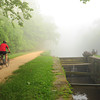 C & O Canal National Historic Park-Maryland-Montgomery County-USA-Bicycling on the tow path at Lock 7
