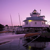 USA Maryalnd St. Michael's Chesapeake Bay Maritime Museum, Hooper Strait Lighthouse at dusk