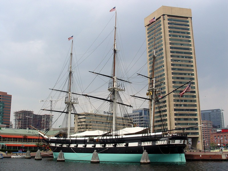 USS Constellation & Baltimore's World Trade Center [background]