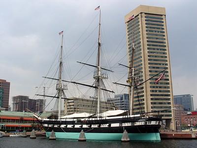 USS Constellation & Baltimore's World Trade Center [background]