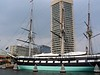 "<b>USS Constellation</b> - The United States Navy built three ships with the name USS Constellation, honoring, according to the U.S. Congress, the ""new constellation of stars"" on the United States flag.  Baltimore's <i>World Trade Center</i> is in the background. (July 31, 2006)"