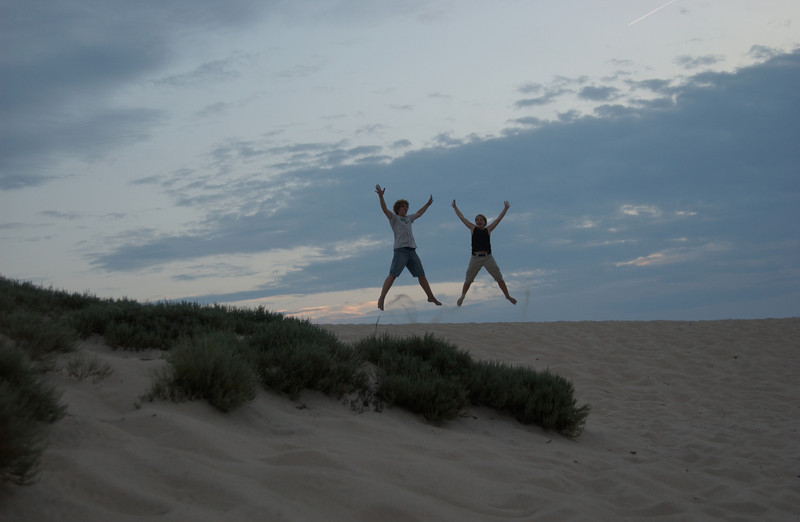 Seth & Lydia in sunset at The Great Dune, Cape Henlopen