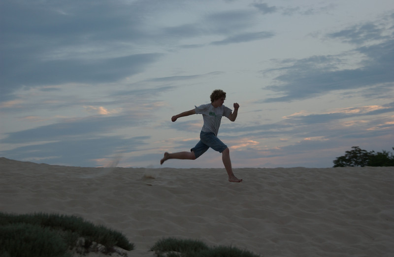Seth in sunset at The Great Dune, Cape Henlopen