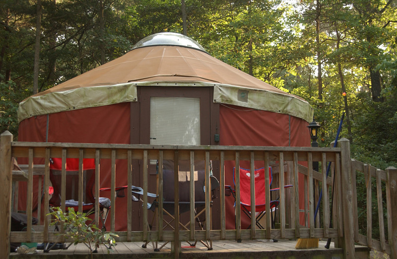 Our yurt at Trap Pond S.P., Delaware; view from water