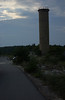 Observation tower at dusk along bike path, Cape Henlopen