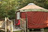 Door of our yurt at Trap Pond, view from side