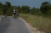 Biking to the beach on campground path