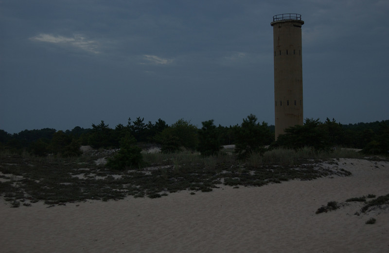Observation tower in evening along bike path, Cape Henlopen