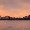 20151115.  Sailboats on Charles River at sunset, Boston MA.