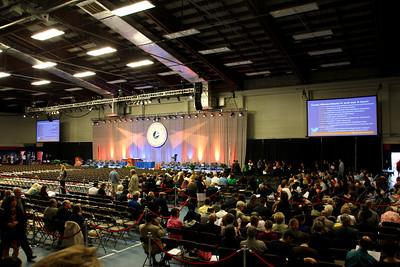 The auditorium is filling up . . . [jumbotron photo]