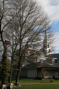 Backyard on High Road and the Steeple of the First Parish Church of Newbury High Road