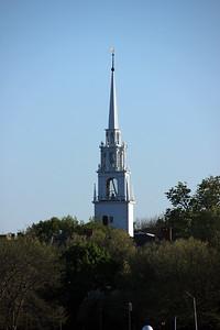 View of Central Congregational Church (United Church of Christ) - Newburyport - from Ring's Island Marina - Salisbury