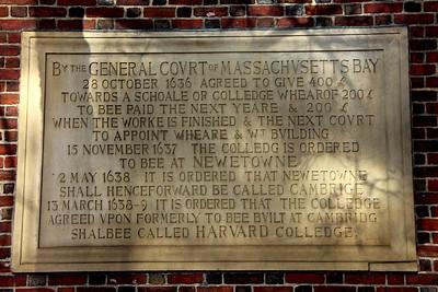 Plaque at the Johnston Gate - Harvard University