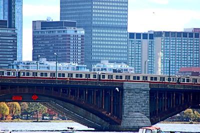 MBTA (Massachusetts Bay Transportation Authority) Red Line crossing the Longfellow Bridge