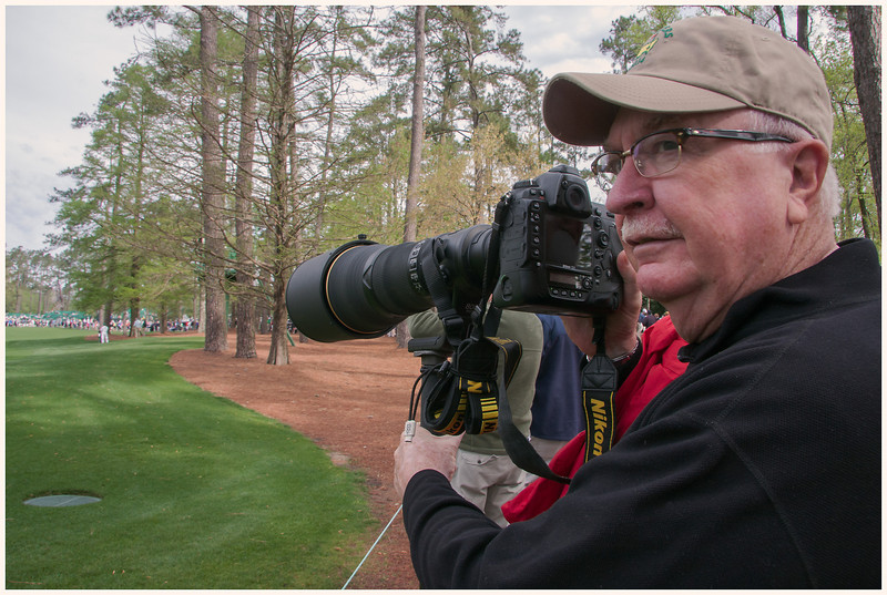 Yours truly having fun with one of four Nikons a professional sports photographer was willing to share with me on the 15th hole. It truly IS all about size!