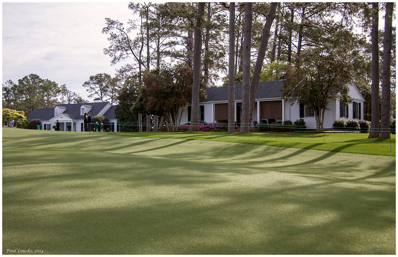 A couple of Augusta National's guest cabins. The one on the left is Butler Cabin, where the green jacket is awarded to the victor.