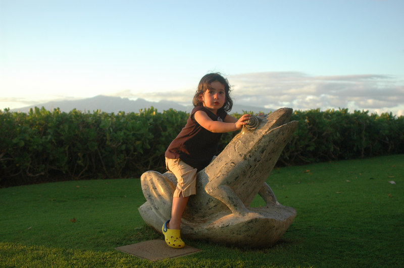 Sam loved sitting on the frog statues