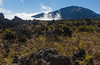 Hiking on the crater floor, clouds moving in