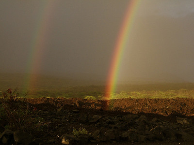 Rainbow and lava fields.
