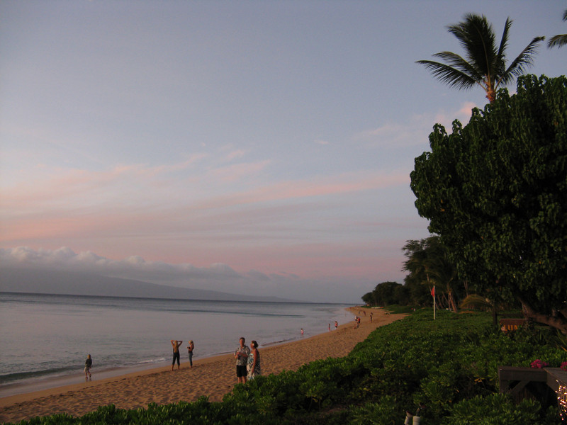 Looking up the coast with Molokai in the background.