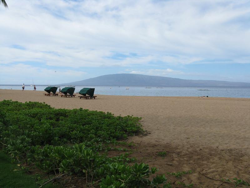 View across the beach to Lanai.