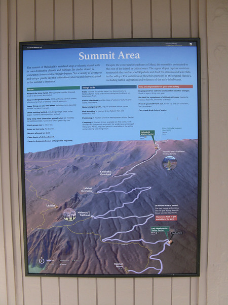 Description of the summit areas. The road was pretty steep.