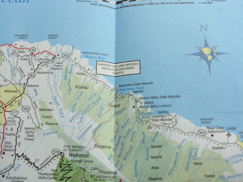 Good old AAA map showing the way to Hana. Narrow one lane bridges -- about 60 of them.