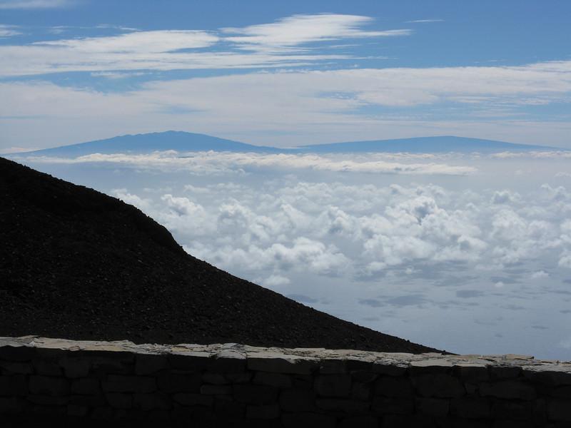 Looking towards the Big Island and Mauna Kea and Mauna Loa.