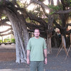 Bruce in front of the huge Banyan Tree.