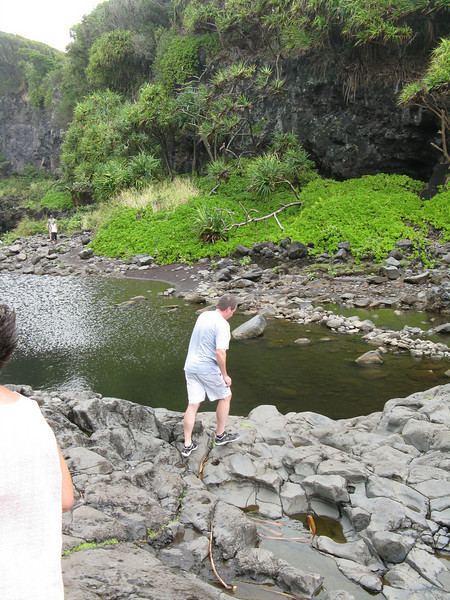 Bruce hiking over to the pools. The rocks were very slick and polished.