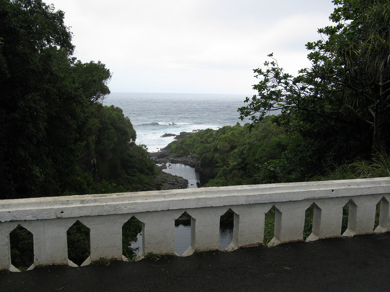 Looking down towards the ocean from the bridge.