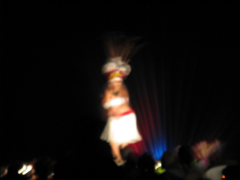Blurry shot of the Hawaiian Wedding Song being performed.
