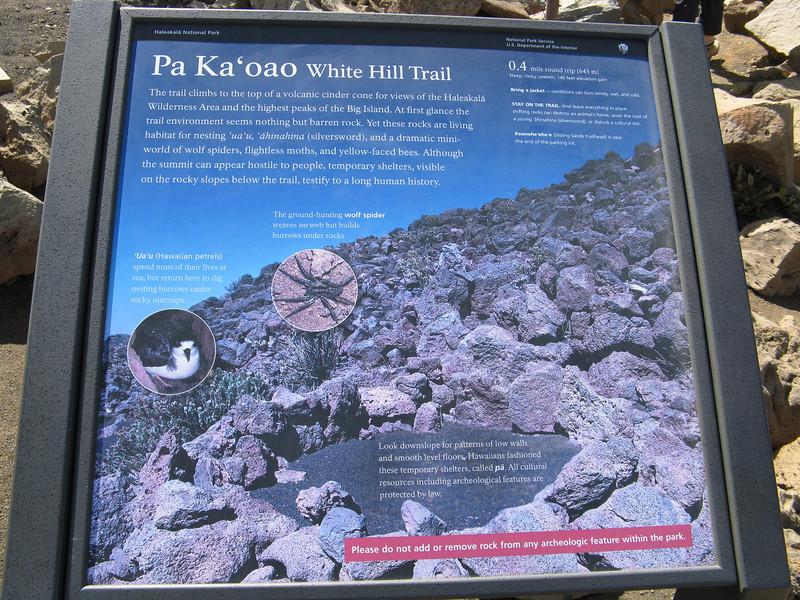 White hill trail information.
